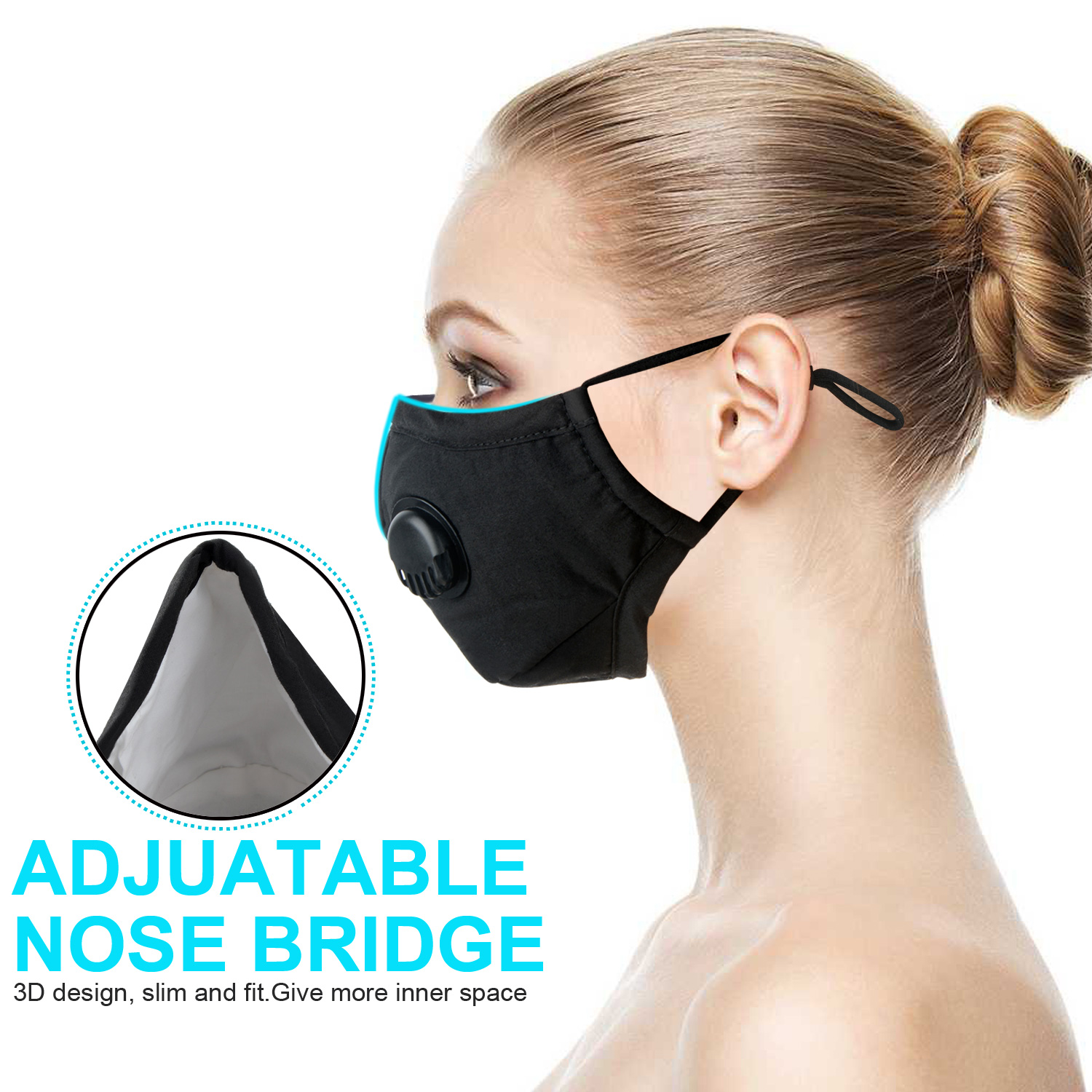 Black Breathable PM2.5 Anti Haze Sand Mask Breath Valve Cotton Dust-proof Face Mask Activated Carbon Filter Respirator Mouth