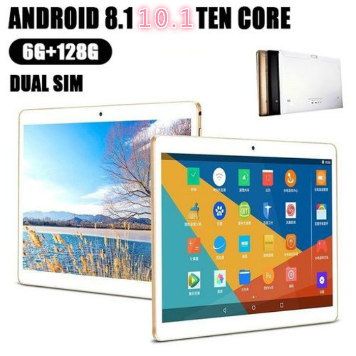 Free Shipping 10.1 Inch Tablet Octa Core 3G 4G FDD LTE Phablet 6GB RAM 128GB ROM Dual SIM Cards 5.0MP Android 8.0 Tablet 10 10.1