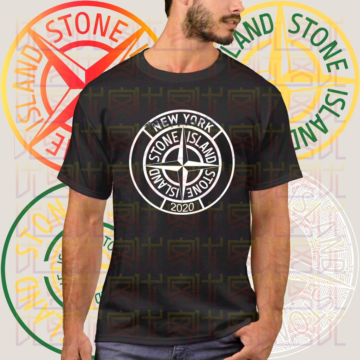 2020 New Stone-Island Logo Summer Print Black T-Shirt Clothes Popular Shirt Cotton Tees Amazing Short Sleeve Unique Men Tops