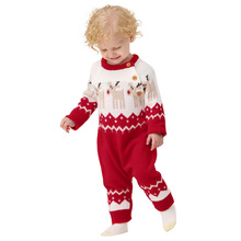 Baby Christmas Clothes Infant Baby Rompers Long Sleeve Cartoon Christmas Knitted Romper Jumpsuit Newborn Boys Girl Clothes 6-24M недорого