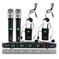 STARAUDIO 4 Channel UHF Wireless Microphone System 4CH Handheld Headset Lavalier Lapel Microphone Party Church Mic SMU-4000AB
