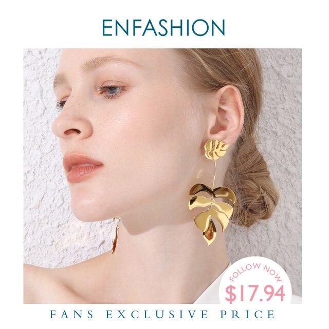ENFASHION Hollow Monstera liść spadek kolczyki dla kobiet Bling czeski dynda kolczyki moda komunikat biżuteria wakacje EB191061