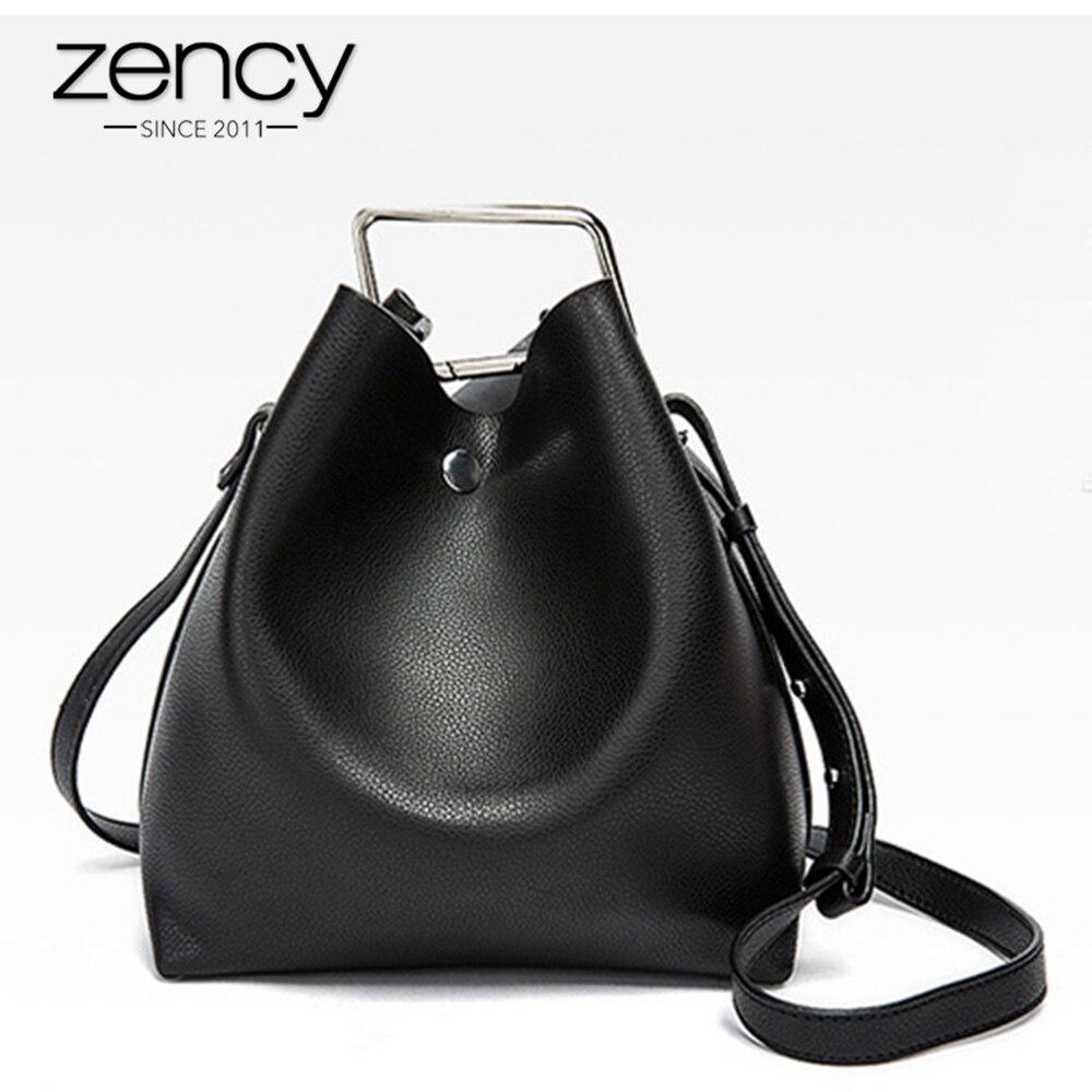 Zency 100% 本物の革レディーカジュアルレザートートバッグエレガントなハンドバッグファッション女性ショルダーバッグメッセンジャークロスボディバッグ財布女性バケット  グループ上の スーツケース & バッグ からの トップハンドルバッグ の中 1