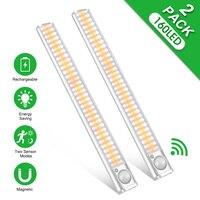 Luz LED para armario, lámpara con Sensor de movimiento, iluminación de cocina, recargable vía USB, para dormitorio, 160 LED