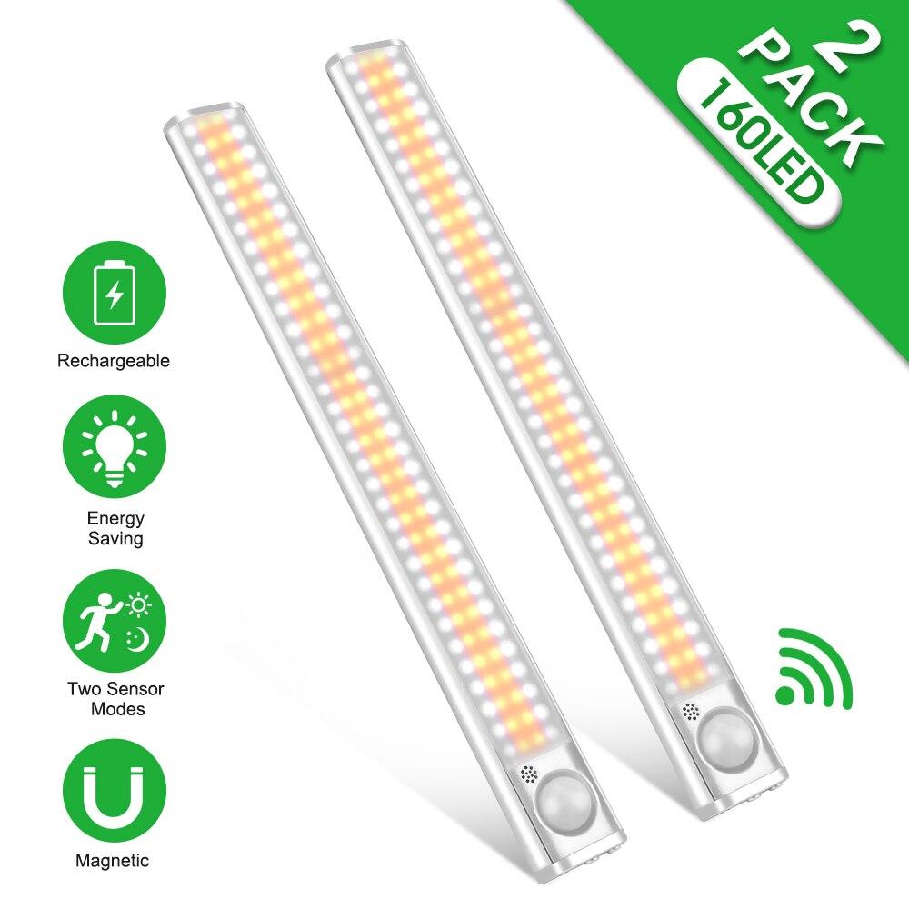 Luz LED para armario con Sensor de movimiento, iluminación de cocina, recargable vía USB, luces para dormitorio, 160 LED Luces para armario    -