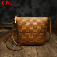 2020 New Vintage Leather Women Shoulder Diagonal Bag Leather Small Tote Bag Wild Retro Hand woven Female Bags Cow Leather Flap