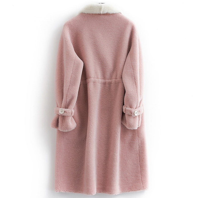 Autumn Winter Sheap Shearing Overcoat Women Double Breasted Wool Jackets Female Long Real Mink Fur Trench Coat LX2484