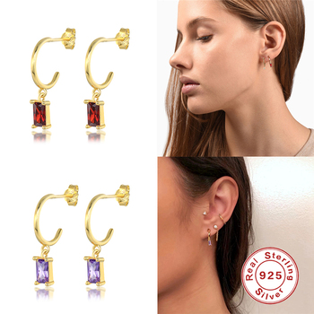 925 Sterling Silver Bling Colorful Zircon Woman Hoop Earring For Valentine's Day Engagement Gift Hanging Pendientes Fine Jewelry