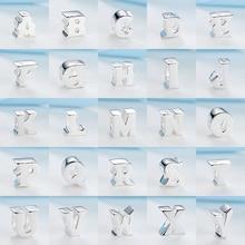 A-Z Аутентичные 100% 925 стерлингового серебра алфавитные бусины 26 букв очарование бисера, соответственные Пандоре обаятельные Браслеты брасле...