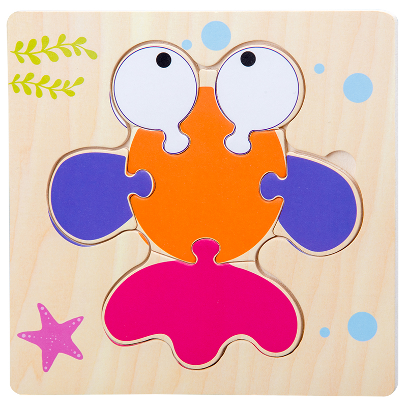 Baby Toys Wooden 3d Puzzle Tangram Shapes Learning Cartoon Animal Intelligence Jigsaw Puzzle Toys For Children Educational 7