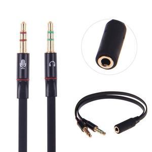 Conector Jack de 3,5mm para micrófono, divisor de Cable de Audio Aux, Cables de micrófono, Cables de ordenador a hembra, 2 extensiones para teléfono macho E6E7