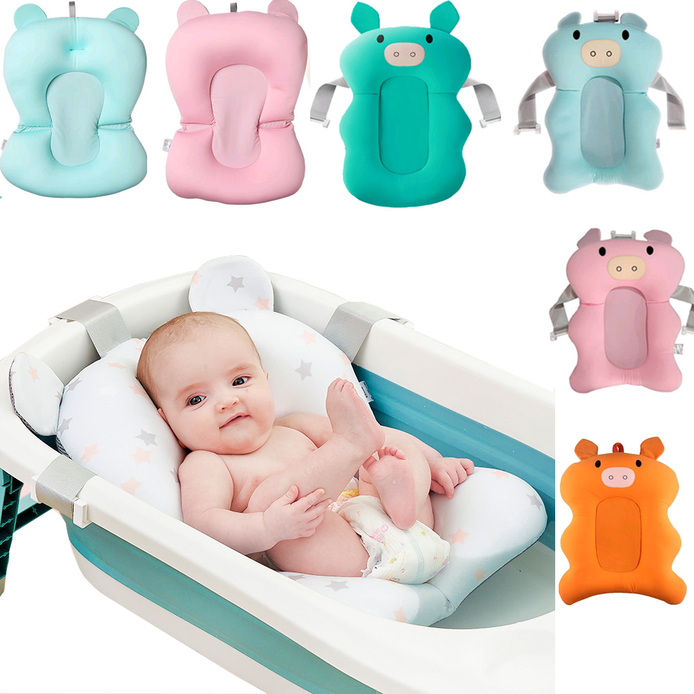 Newborn Bath Seat Support Mat Portable Baby Bath Pad Chair Baby Bathtub Safety Pillow Infant Anti-Slip Comfort Bath Cushion Mat