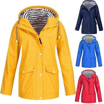 Women Solid Color Stripe Outdoor Windproof Waterproof Hooded Raincoat Rain Jacket