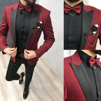 Burgundy Groom Wedding Tuxedos New Mens Prom Suits Slim Fit Black Peaked Lapel 2 Pieces Jacket Vest