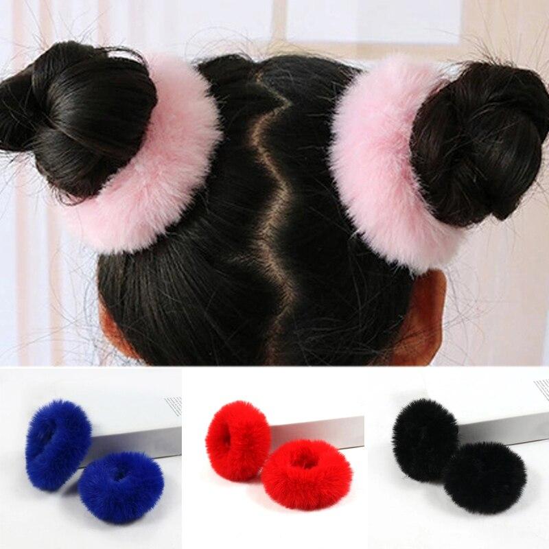2 шт. помпон плюшевые эластичные резинка для волос, обтянутая тканью; Обувь на платформе из искусственного кроличьего меха; Для женщин девоч...