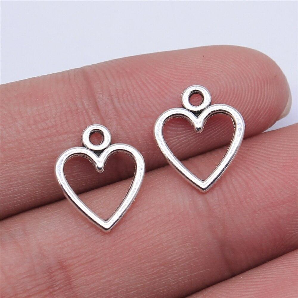 WYSIWYG 40 sztuk 14x12mm antyczny srebrny kolor antyczne złoto kolor Hollow serce Charms dla tworzenia biżuterii DIY ocena biżuteria