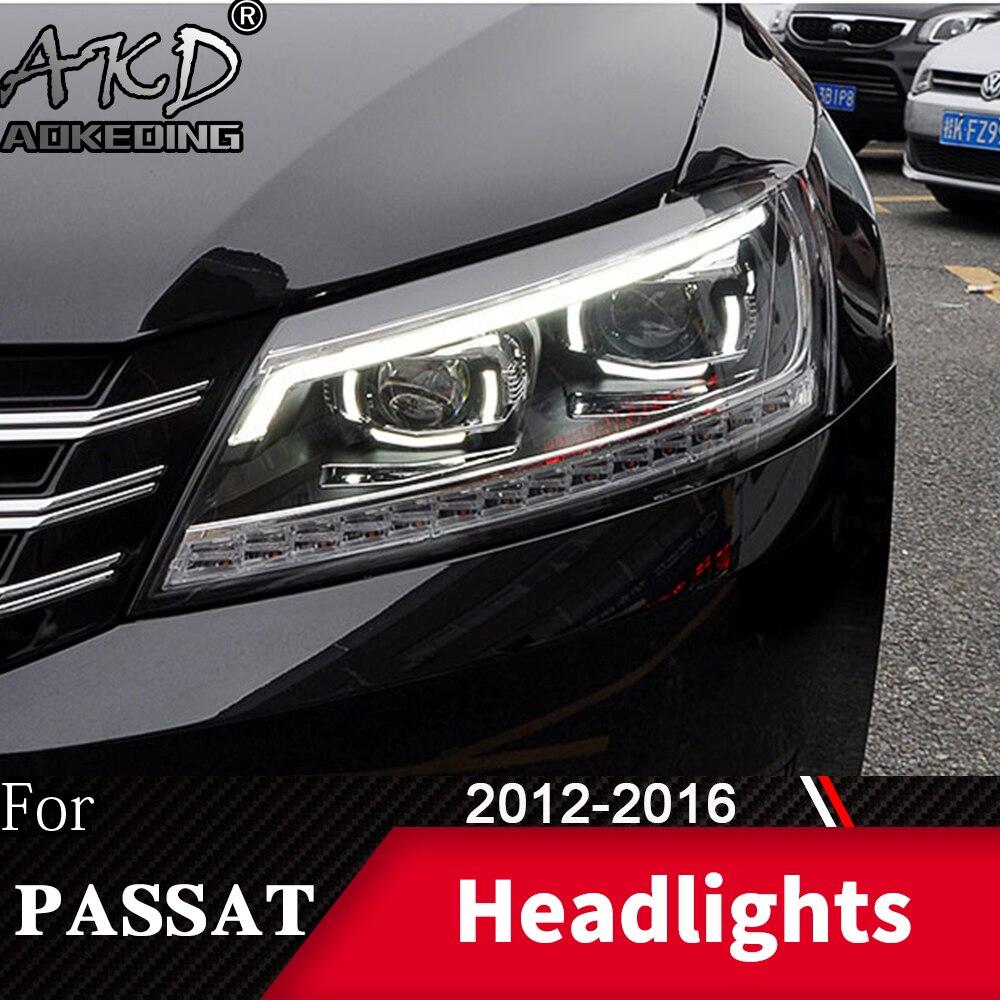 Faro para VW Passat B7 2012-2016 Passat US faros antiniebla luz de día de funcionamiento DRL H7 LED Bi Xenon bombilla accesorios de coche