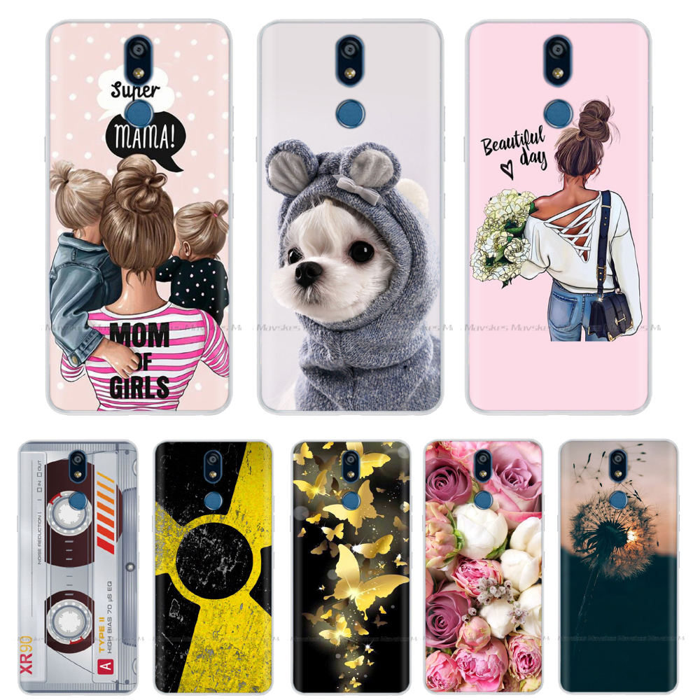 5.7Inch Silicon Case For LG K40 Case Soft TPU Transparent Phone Back Cover For LG K40 K 40 2019 Protective Coque Bumper Flower