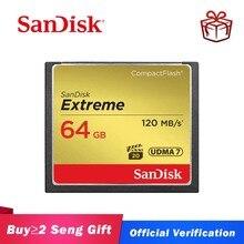 Карта памяти SanDisk Extreme, 16 ГБ, 32 ГБ, 64 ГБ, 128 ГБ, компактная флеш карта, класс 10, 120 м/с, карта CF для 4K и Full HD видеокамер
