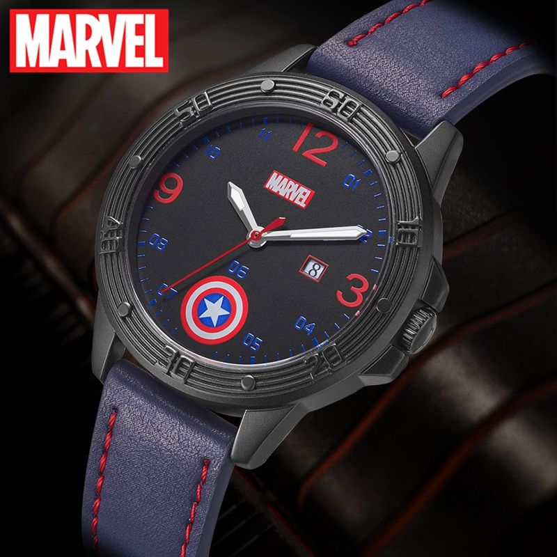MARVEL Avengers Captain America Boy Super Hero Dream Best Gift Calendar Luminous Hands Waterproof Watch Child Love Leather Clock