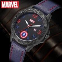 MARVEL Avengers Captain America Boy Super Hero Dream Best Gift Calendar Luminous Hands Waterproof Watch Child Love Leather Clock