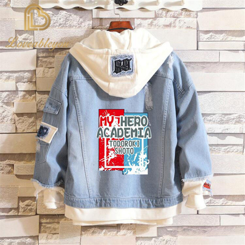 Denim Jacket Hoodie Spring-Coat Cosplay-Costumes Attack Fate Titan Academia Todoroki title=