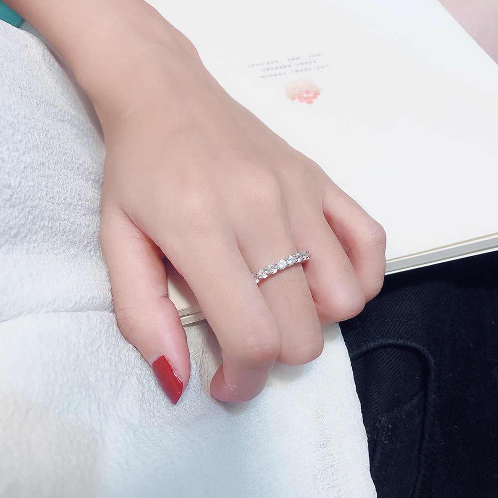 Marca 5A Promise Ring Set Real 100% 925 Prata Esterlina Zircão Sona De Noivado Cz Anéis da Faixa Do Casamento para As Mulheres dedo jóias