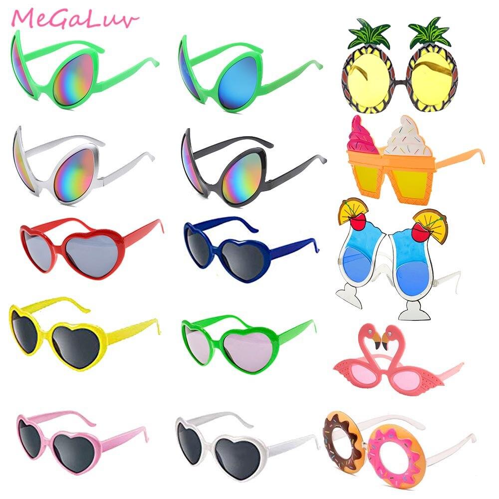 Солнцезащитные очки для Гавайской вечеринки, летние солнцезащитные очки для пляжа, вечеринки, сувениры в виде фламинго, мороженого, сердца, ...