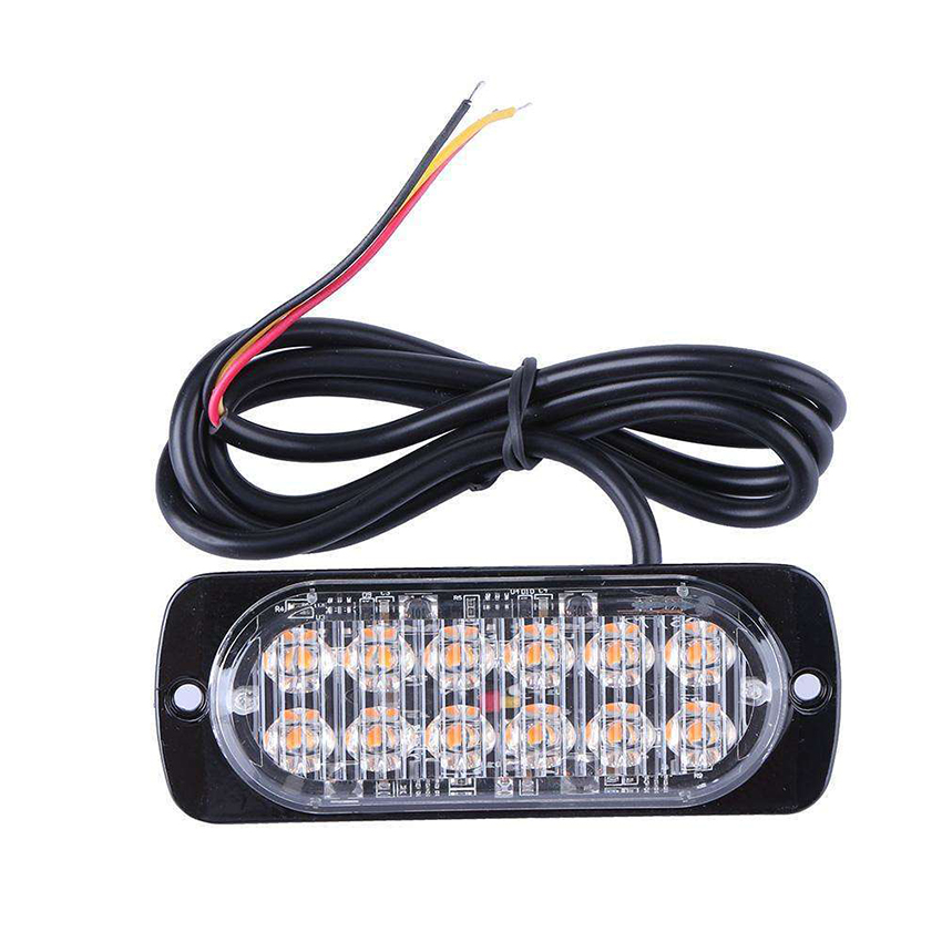 12-24V Emergency Strobe Lights, Universal 12 LED 36W Surface Mount Yellow/White/Blue/Red Warning Flashing Strobe Light Bar