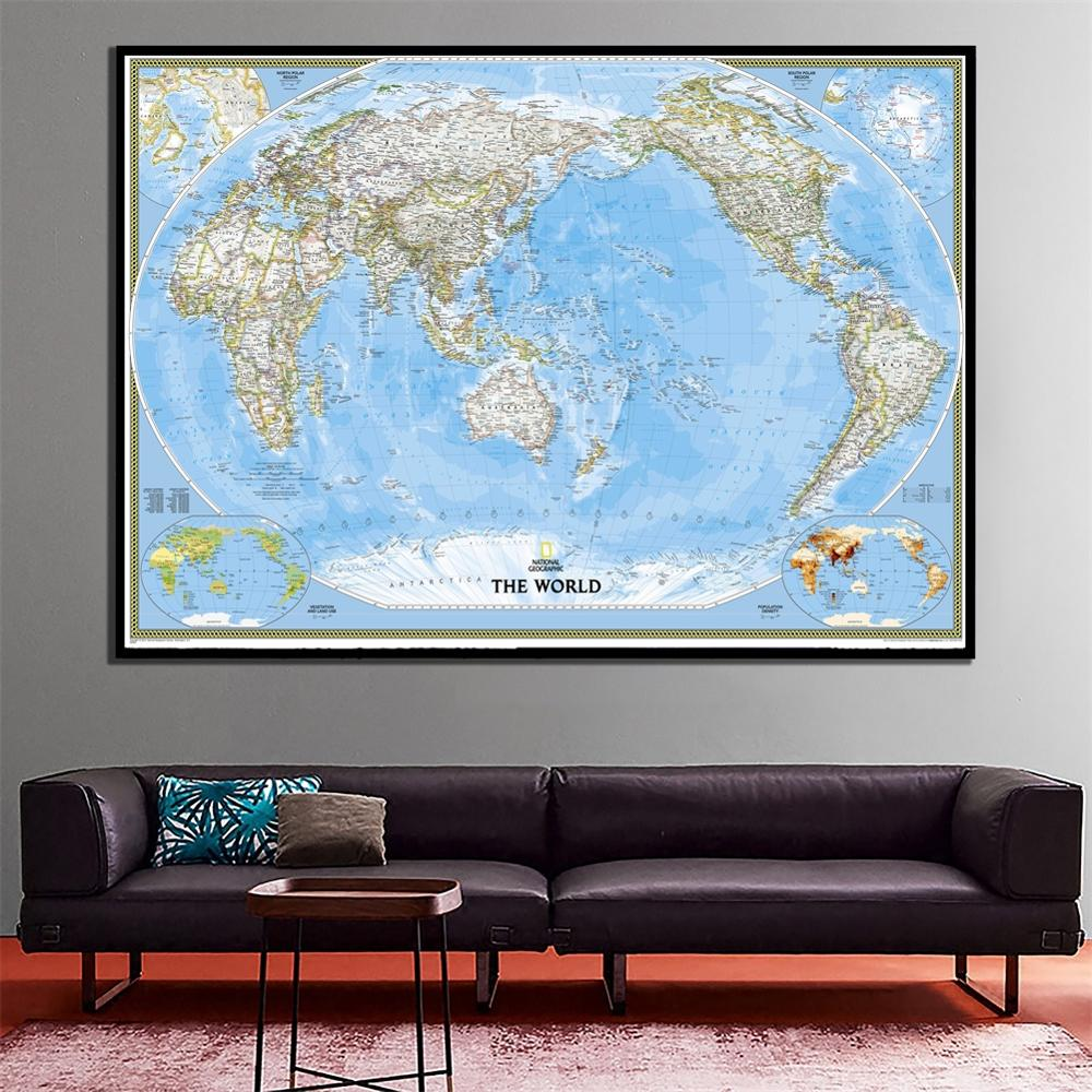 2011 Version The World Physical Map A2 Size HD Printed Waterproof Fine Canvas No-frame Painting For Living Room Wall Decor