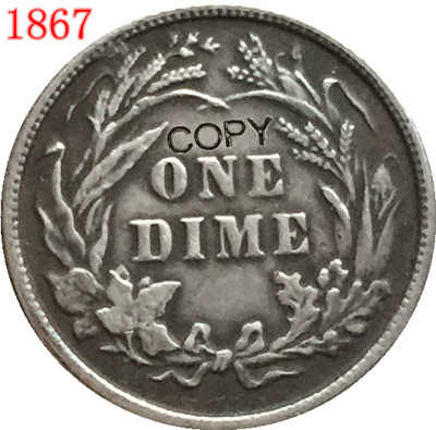 USA 1867 يجلس ليبرتي الدايم نسخة عملات