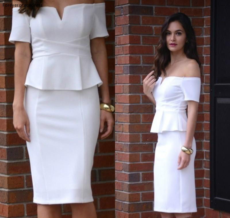 2019 Cheap White Elegant Cocktail Dress Sheath Off Shoulder Short Sleeve Semi Club Wear Homecoming Party Gown Plus Size