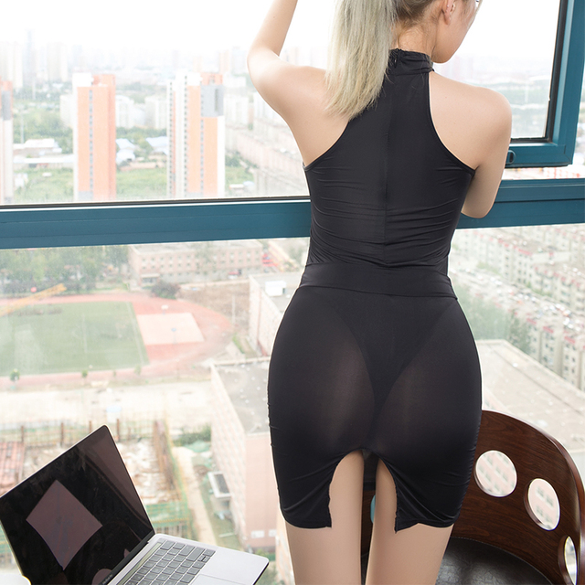 Sexy secretary costume Smooth high transparent polychromatic collocation suit tight short dress Temptation women erotic clothing 6