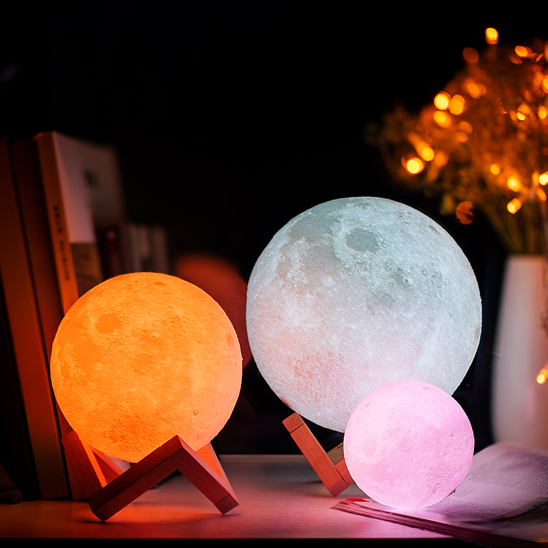 3D Print Moon Lamp for Creative Home Decor with Changing Color 5
