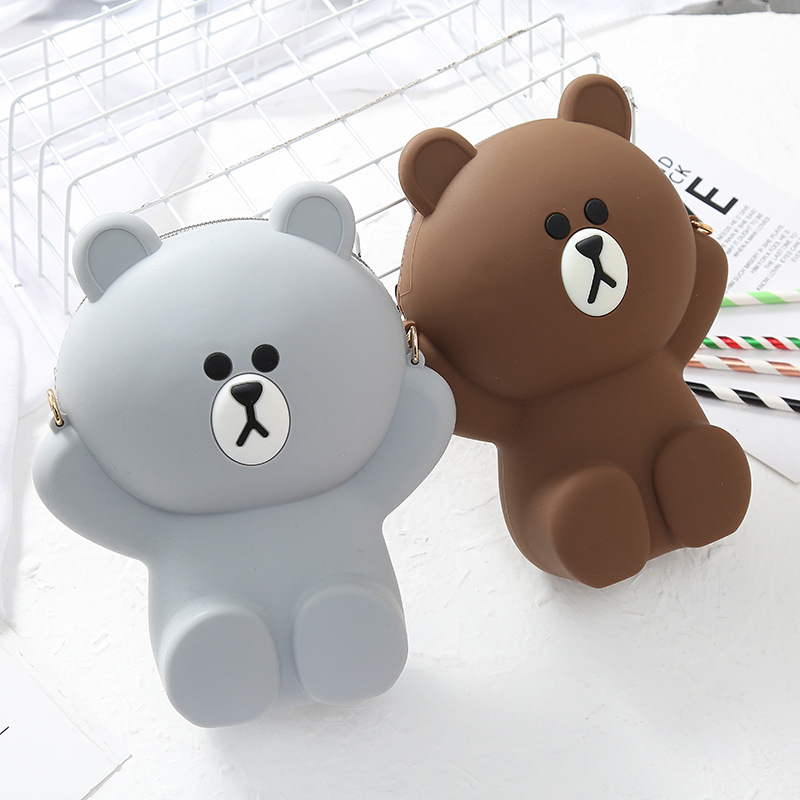 Silica Gel Bag Women's New Style Korean-style Casual Bear Phone Bag Cute Adorable Cream Crossbody Bag