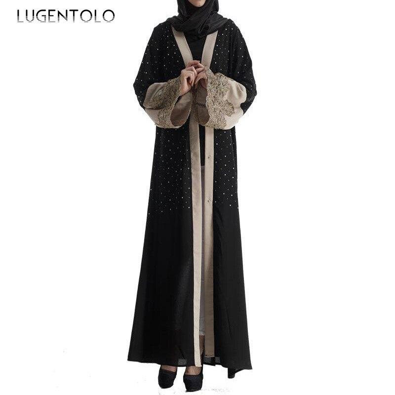 Lugentolo New Women Elegant Dress Loose Embroidered Diamond Fashion Muslim Dress Cardigan Black Abaya Big Swing Lady Maxi Dress