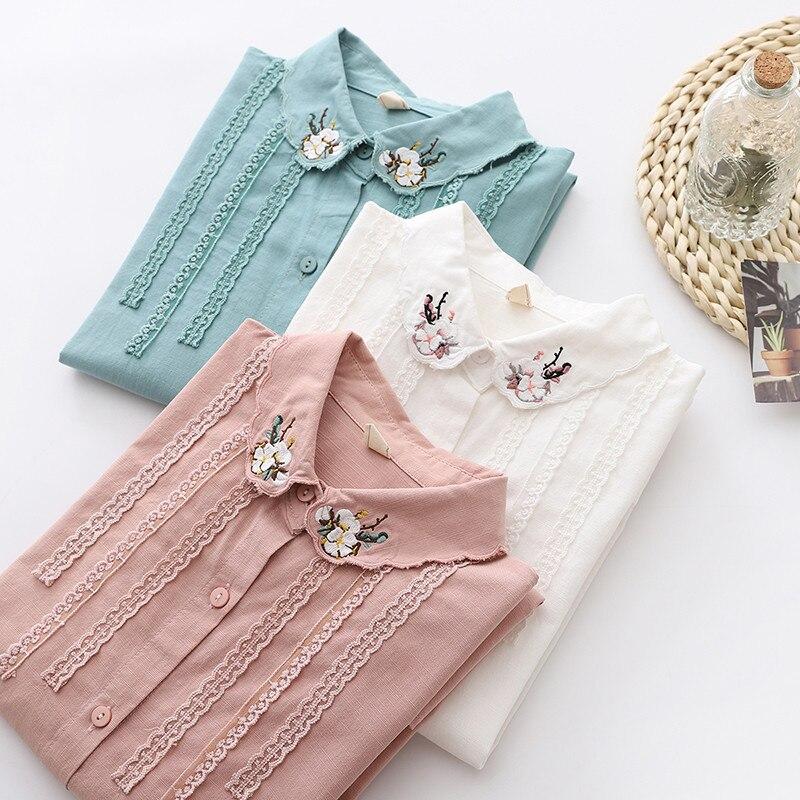 Купить блузка женская с длинным рукавом на пуговицах вышивкой
