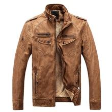 CYSINCOS 2020Autumn Winter Vintage Fleece Leather Jacket