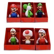 23CM 7 Stil Mario Bros Figur Yoshi Kröte Rosa Prinzessin Weiß Hut Mario Luigi Modell Sammlung Action Figur Spielzeug