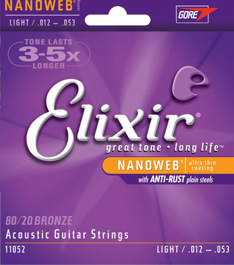 Elixir Nanoweb Polyweb Coating 80/20 Bronze Stainless Steel Acoustic Guitar Strings