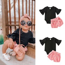 Summer Fall Newborn Infant Toddler Clothing Baby Girls Casual Print Romper Shorts Suits Kids Cotton Lovely Clothes Set