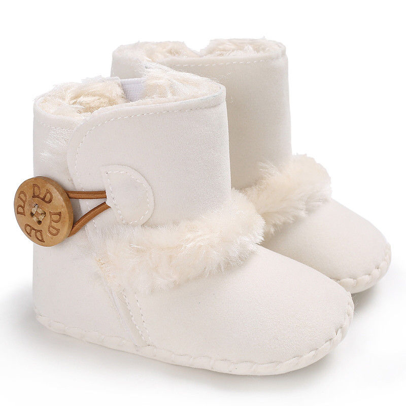 0-18M Newborn Infant Baby Girls Snow Boots Winter Warm Baby Shoes Solid Button Plush Ankle Boots 3