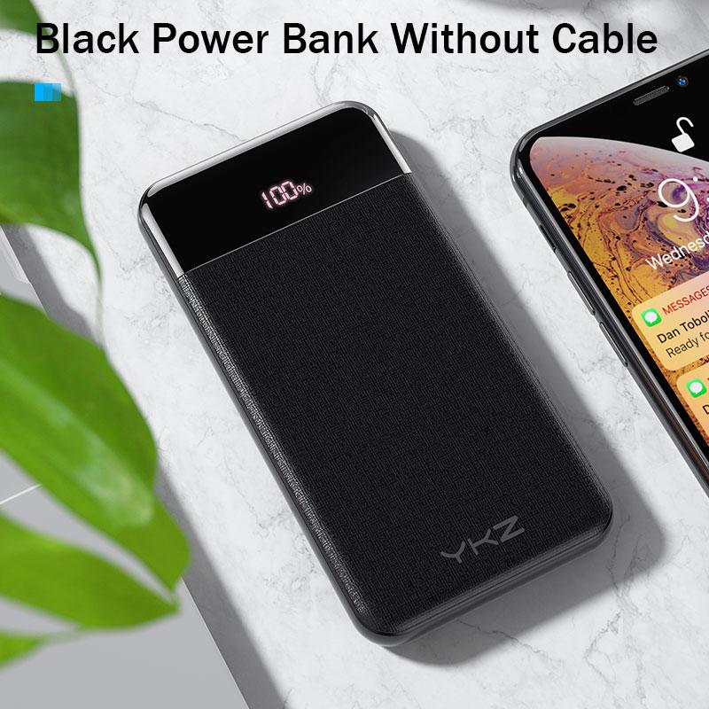 YKZ QC 3,0 внешний аккумулятор 10000 мАч светодиодный портативный аккумулятор PD Быстрая зарядка 12 В внешний аккумулятор для iPhone Xiaomi Mi с USB - Цвет: Black without Cable