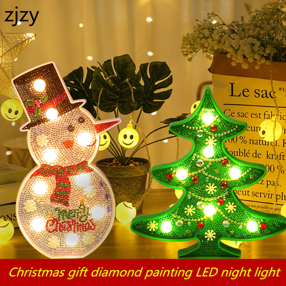 2019 New DIY LED Diamond Painting Night Light Christmas Tree Snowman Cross Stitch Embroidery Special Shape Home Decorations