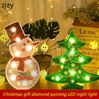 2019 New DIY LED Diamond Painting Night Light Christmas Tree Snowman 5D Cross Stitch Embroidery Special Shape Home Decorations