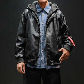 Mens Leather Jacket Hooded Casual Coat  Faux Leather Men Clothing