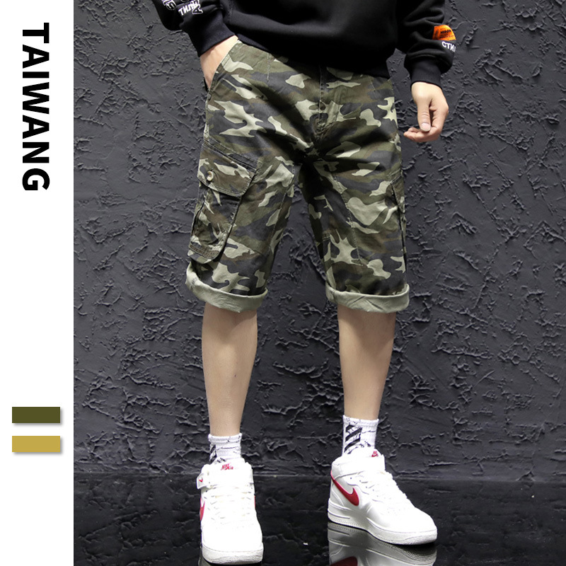 Men Camouflage Bags Bib Overall 2019 Summer New Style Europe And America Youth Casual Pants Popular Brand Uniform Capri Pants