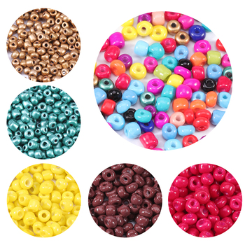 1000PCS 2.5/3/4mm  Czech Glass Seed Beads Baking Paint Peads Dyed Core Hole Bead Spacer DIY For Kids Jewelry Making - discount item  15% OFF Jewelry Making