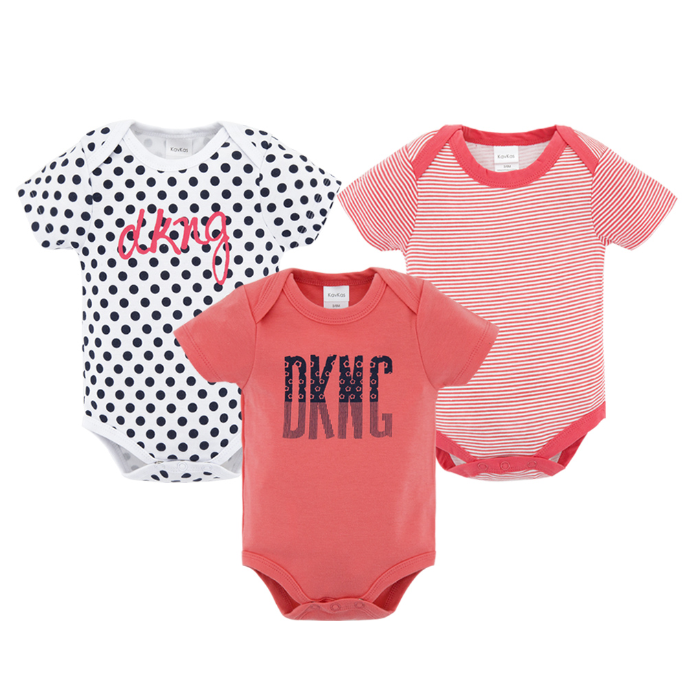 3PCS Baby Bodysuit Clothes Printing Cartoon Summer Short Sleeve Newborn Baby Rompers Cotton Baby Girls Boys Roupa De Bebes 0-12M