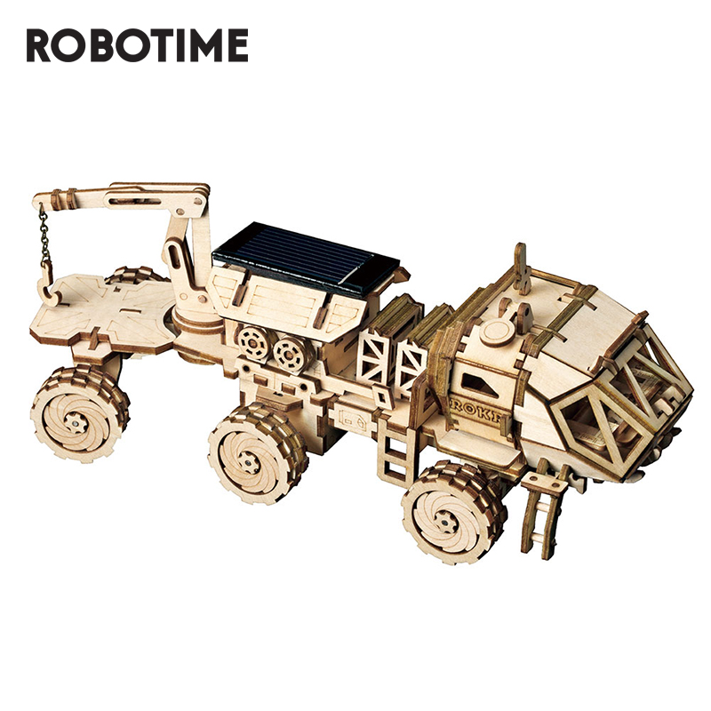 Robotime DIY Movable Solar Energy Toys 3D Wooden Puzzle Assembly Model Building Kits Toys For Children Adult LS504